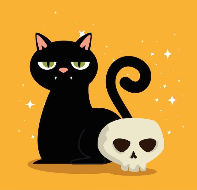 Cartão de dia das bruxas com gato preto e crânio
