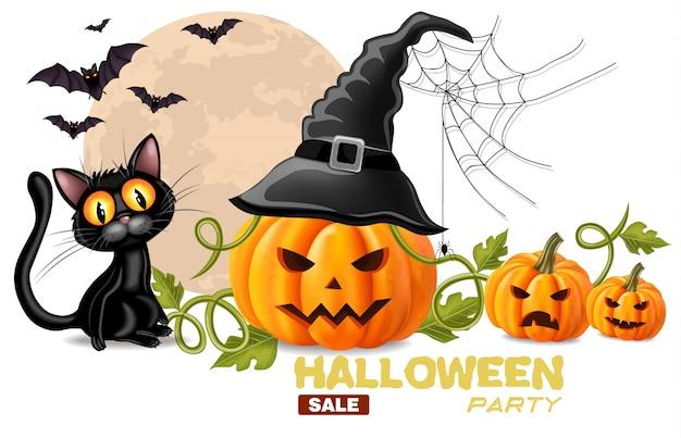 Cartão de dia das bruxas com gato preto e rostos de abóboras