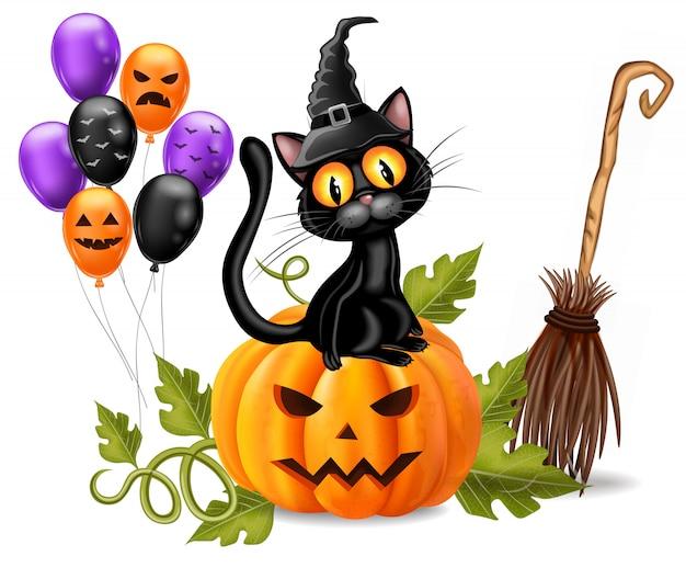 Cartão de dia das bruxas com gato preto sentado em uma abóbora