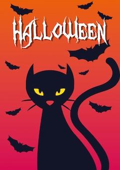 Cartão de dia das bruxas com gato preto
