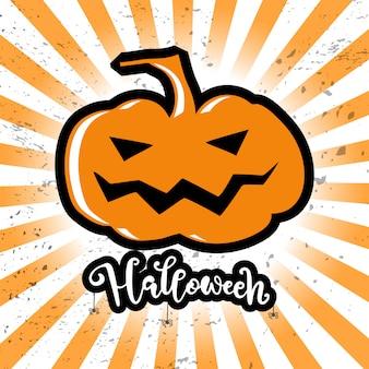 Cartão de dia das bruxas com grande plumpkin e script halloween