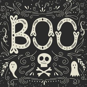 Cartão de dia das bruxas com letras.
