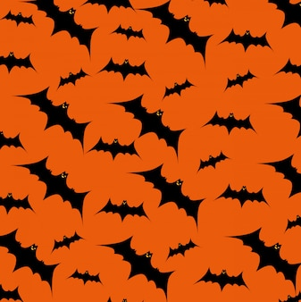 Cartão de dia das bruxas com morcegos voando padrão
