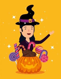 Cartão de dia das bruxas com personagem de abóbora e bruxa