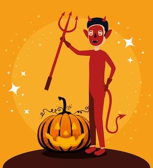Cartão de dia das bruxas com personagem de abóbora e demônio