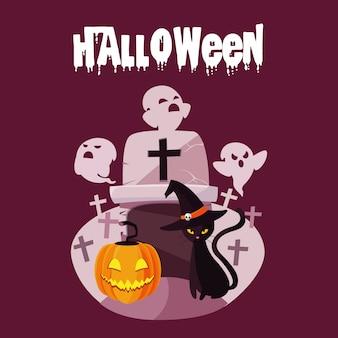 Cartão de dia das bruxas com personagens fantasma e abóbora