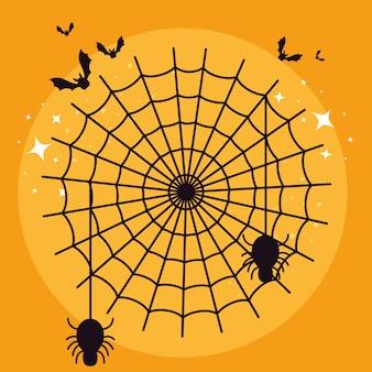 Cartão de dia das bruxas com teia de aranha e morcegos voando