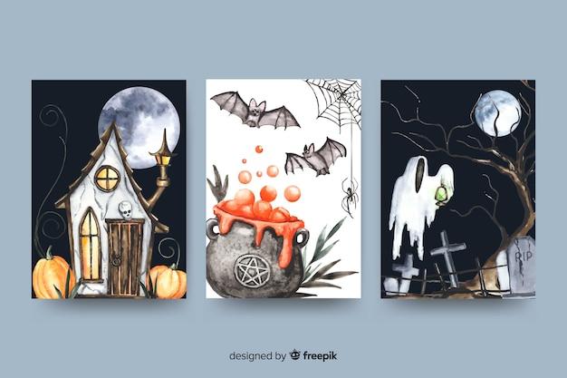Cartão de dia das bruxas definido em aquarela