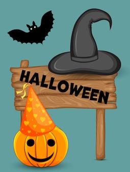 Cartão de dia das bruxas. estilo de desenho animado. ilustração vetorial.