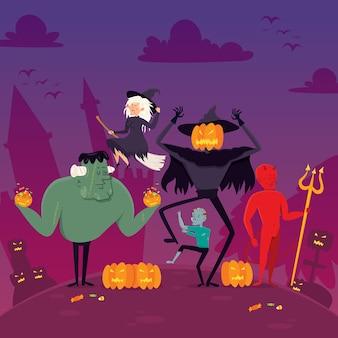 Cartão de dia das bruxas fantasma plana