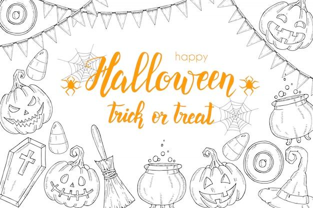 Cartão de dia das bruxas greting com mão desenhada elementos de halloween