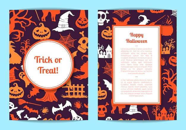 Cartão de dia das bruxas ou modelo de panfleto