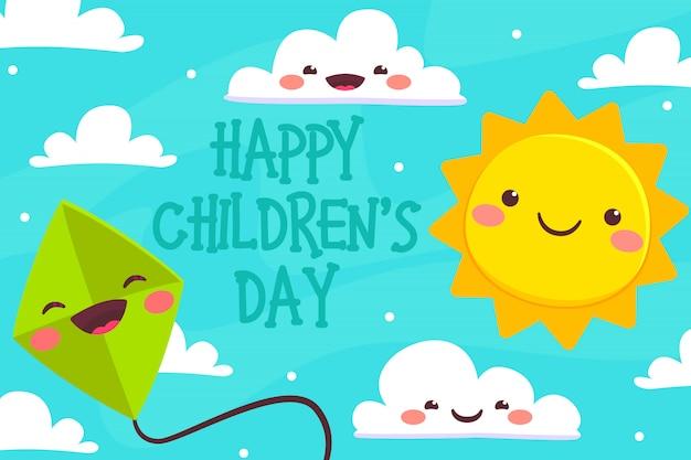 Cartão de dia das crianças com céu