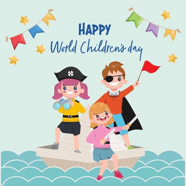 Cartão de dia das crianças do mundo feliz com meninos vestindo fantasia de pirata em um barco.