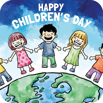 Cartão de dia das crianças no estilo da aguarela