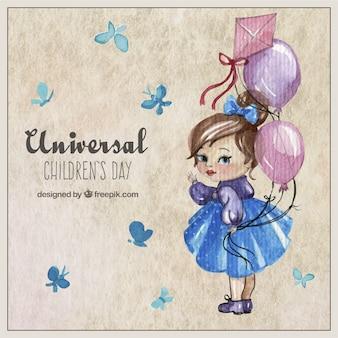 Cartão de dia das crianças universais no estilo pintados à mão