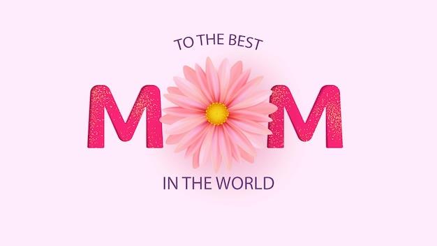 Cartão de dia das mães com belas flores de flor.