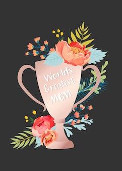 Cartão de dia das mães com buquê de flores. banner floral feliz dia das mães. melhor cartaz de mamãe, flyer design de celebração de primavera. ilustração vetorial