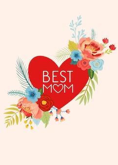 Cartão de dia das mães com buquê de flores. feliz dia das mães banner floral com coração. melhor cartaz de mamãe, flyer design de celebração de primavera. ilustração vetorial