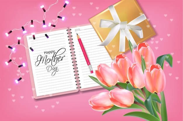 Cartão de dia das mães com buquê de tulipas