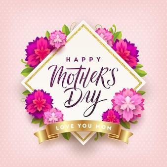 Cartão de dia das mães com caligrafia e flores.