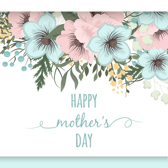 Cartão de dia das mães com flores de flor