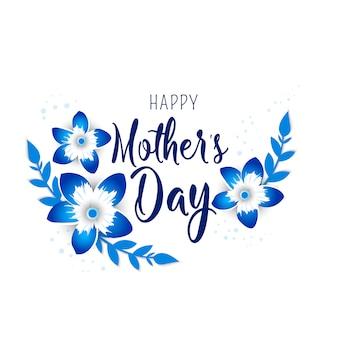 Cartão de dia das mães com flores de origami de flor.