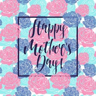 Cartão de dia das mães com fundo de flores