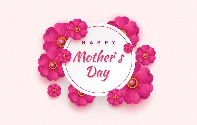 Cartão de dia das mães com lindas flores desabrochando sobre um fundo geométrico suave em tons pastel. feliz dia das mães.