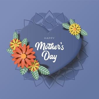 Cartão de dia das mães com lindas flores