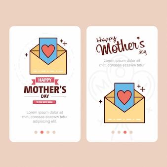 Cartão de dia das mães com logotipo de carta e vetor de tema rosa