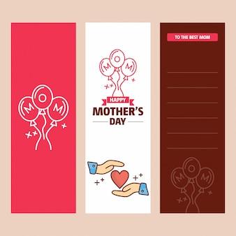 Cartão de dia das mães com logotipo de coração e vetor de tema rosa