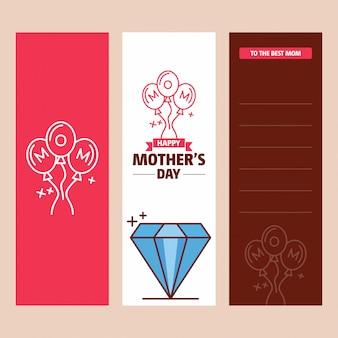 Cartão de dia das mães com logotipo de diamante e vetor de tema rosa