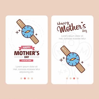 Cartão de dia das mães com logotipo de relógio e vetor de tema rosa