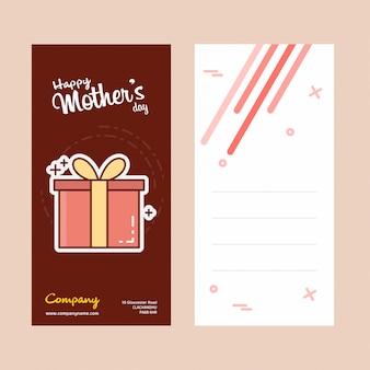 Cartão de dia das mães com logotipo giftbox e vetor de tema rosa