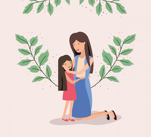 Cartão de dia das mães com mãe e filha folhas coroa