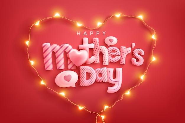 Cartão de dia das mães com o símbolo do coração das luzes led