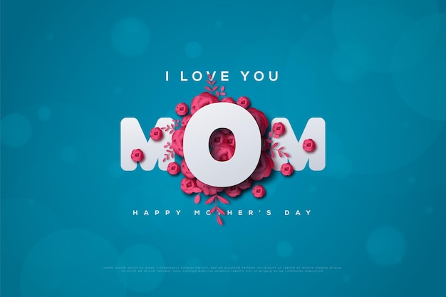 Cartão de dia das mães com uma da letra o em uma rosa vermelha.