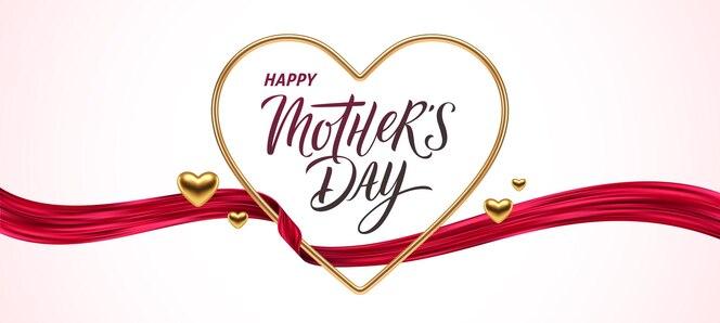 Cartão de dia das mães. coração de ouro com caligrafia e fita vermelha.
