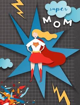 Cartão de dia das mães em estilo de corte de papel de quadrinhos. personagem de super mãe em design de corte de papel de capa vermelha para banner de dia das mães, cartaz, plano de fundo. ilustração vetorial