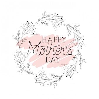 Cartão de dia das mães feliz com armação circular de ervas