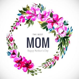 Cartão de dia das mães feliz com design de moldura circular de flores