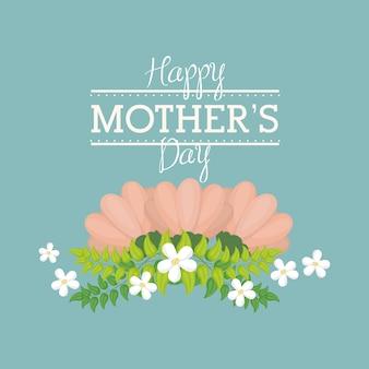 Cartão de dia das mães feliz com flor decorativa