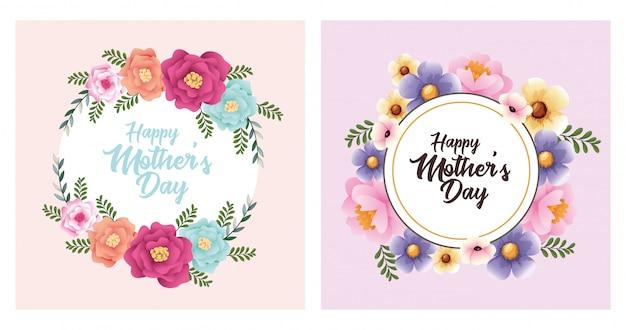 Cartão de dia das mães feliz com flores conjunto de quadros
