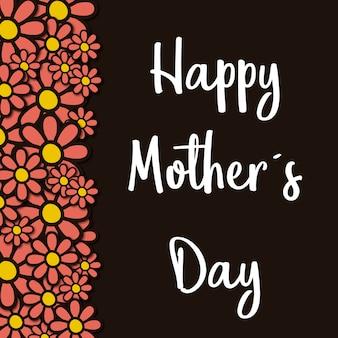 Cartão de dia das mães feliz com flores