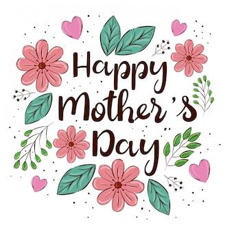 Cartão de dia das mães feliz com giros flores e folhas