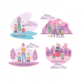 Cartão de dia das mães feliz com mães e filhos