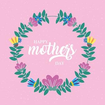 Cartão de dia das mães feliz com moldura circular de flores