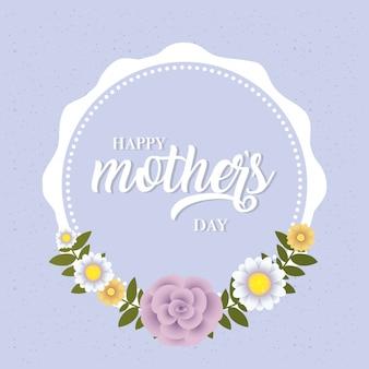 Cartão de dia das mães feliz com moldura circular floral