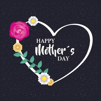 Cartão de dia das mães feliz com moldura de coração floral